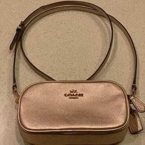 COACH Metallic Rose gold purse wallet on chain EC